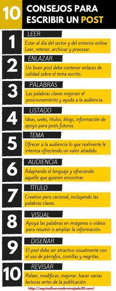 10 consejos para escribir un post ¡No fallan! #marketingdecontenidos