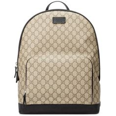 Gucci Gg Supreme Backpack ($1,085) ❤ liked on Polyvore featuring bags, backpacks, accessories, luggage & lifestyle bags, women, gucci backpack, leather backpack, brown leather bag, brown backpack and genuine leather backpack