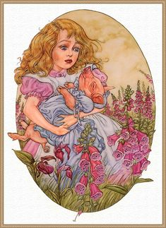 """*ALICE ~ Angel Dominguez and his illustrations for """"Alice in Wonderland"""" - Fair Masters - handmade, handmade Alice In Wonderland 1, Adventures In Wonderland, Lewis Carroll, Pig Girl, Go Ask Alice, Alice Liddell, Baby Pigs, Diy Painting, Fairy Tales"""