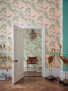Palm Leaves by Cole & Son - Alabaster Pink and Mint - Wallpaper : Wallpaper Direct Decor, House Colors, Print Wallpaper, Bold Wallpaper, Cole And Son Wallpaper, Mint Wallpaper, Palm Leaves, Palm Wallpaper, Wallpaper Living Room