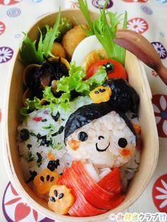 Tutorial for Kawaii Kimono Girl Kyaraben Bento Lunch (Rice, Nori Seaweed, Kanikama Surimi Stick, Flower-Shaped Carrot and Black Sesame)