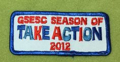 Girl Scouts Eastern South Carolina 100th anniversary patch. GSESC Season of TAKE ACTION 2012. An eBay find.
