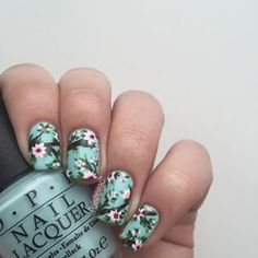 Instagram photo by polishpeach - Spring is in the air! Or at least on my nails! Base color is @opi_products Gelato in my Mind I was filming a tutorial, but half of the clips didn't film? Really annoyingggg But I'm probably going to film the tutorial on my thumb a little later
