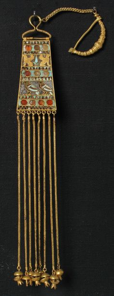 Pendant Fibulas. Gold, turquoise, Sardioni, glass. Length of 31cm. Imereti, Vani. First half of the 4th century B.C. Archaeology - Georgian National Museum