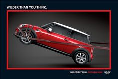 "MINI ""Wilder than you think"" print ad Mini Countryman, Mini Clubman, Ads Creative, Creative Advertising, Online Advertising, Advertising Agency, Advertising Poster, Advertising Design, Mini Driver"