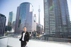 Malaparte groom on terrace Toronto Wedding Photographer, Rooftop, Perfect Wedding, Terrace, New York Skyline, Wedding Planner, Boston, Groom, Bride