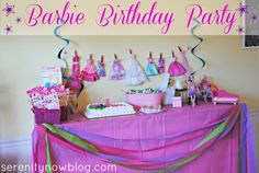 How to Throw a Barbie Birthday Party at Home, from Serenity Now// I used the Barbie Clothes Idea. I hung them on a hanger and used clothes pins. Then I wrote my daughters name out on the clothes pins. Loved this pin!