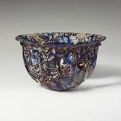 Roman ribbed mosaic glass bowl, early Imperial, c. late 1st century BCE–early 1st century CE.