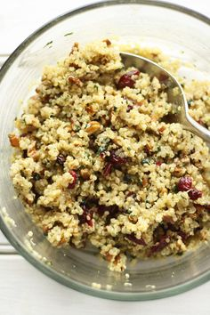 Cranberry-Pecan Quinoa Salad--filling side dish with protein.  I'd just call it cranberry quinoa for the boys and leave the dressing on the side for grown ups to add