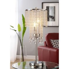 @Overstock - Add a touch of sparkle to any room with this Crystal Rain table lamp. Glistening crystals descend from the round chrome base of this striking 3-light fixture.http://www.overstock.com/Home-Garden/Crystal-Rain-3-light-Chrome-Crystal-Table-Lamp/6002799/product.html?CID=214117 $135.89
