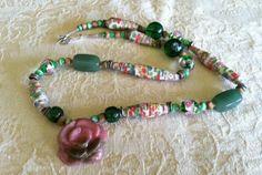 Handmade Stone Rose Bead Necklace Vintage Glass by Nostalgicats, $15.00
