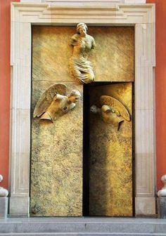 Bella says, every door has a story. Golden door with angels, Poland Cool Doors, The Doors, Unique Doors, Windows And Doors, Grand Entrance, Entrance Doors, Doorway, Knobs And Knockers, Door Knobs