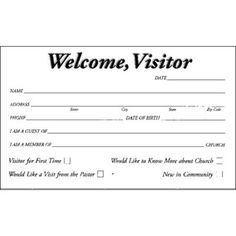 church visitor card template