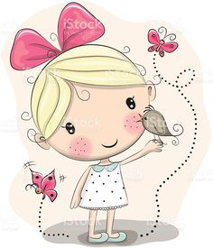 Illustration about Cute Cartoon Girl with bird and butterflies on a pink background. Illustration of dress, view, motion - 70940707 Vector Shapes, Vector Art, Cartoon Drawings, Cute Drawings, Cute Images, Cute Pictures, Image Deco, Cute Cartoon Girl, Cute Illustration