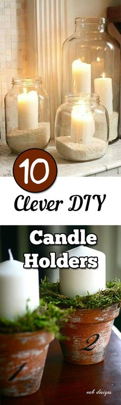 Clever DIY Candle Holders No more regular candle holders, use these great ideas to create your own!No more regular candle holders, use these great ideas to create your own! Diy Candle Holders, Diy Candles, Candle Decorations, Homemade Candles, Beeswax Candles, Scented Candles, Cheap Home Decor, Diy Home Decor, Decor Crafts