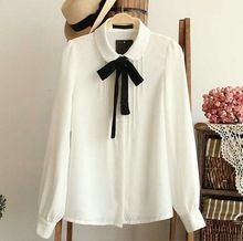 Moda feminina elegante laço branco blusas de Chiffon peter pan collar casual doll escola tops blusa mulheres Plus Size(China (Mainland))