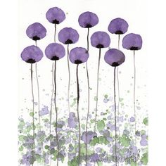 Watercolor Painting: Watercolor Flowers -- A Bit Shy -- Purple Flowers... ($20) ❤ liked on Polyvore featuring home, home decor, wall art, flowers, backgrounds, art, fillers, purple, effect and watercolour painting