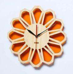 Orange Wall Clocks, Wood Cut, Cool Clocks, Big Wall Clocks, Diy Clock, Clock Ideas, Wall Watch, Cnc Projects, Orange Walls