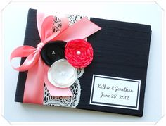 Black and Coral Wedding Guest Book with Lace and by ModernShabby, $45.00
