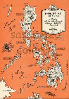 Vintage Philippines Cartoon Map Philippine Islands Print Beach House Decor Gallery Wall Art Map Collector Gift for Traveler by OnTheWallPrints on Etsy Philippine Map, Philippine Mythology, Filipino Art, Filipino Culture, Filipino Tattoos, Filipino Recipes, Vintage Maps, Antique Maps, Tango