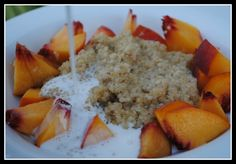 Had a similar recipe from Chef Brad.  Quinoa is super yummy sweetened!  He only added agave, cream and peaches.   DSC_0351