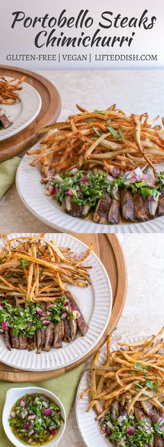 Juicy portabella mushroom steaks sliced and topped with chimichurri sauce, and served with a generous heaping of oil-free shoestring fries. #vegan #glutenfree #chimichurri #portabellas
