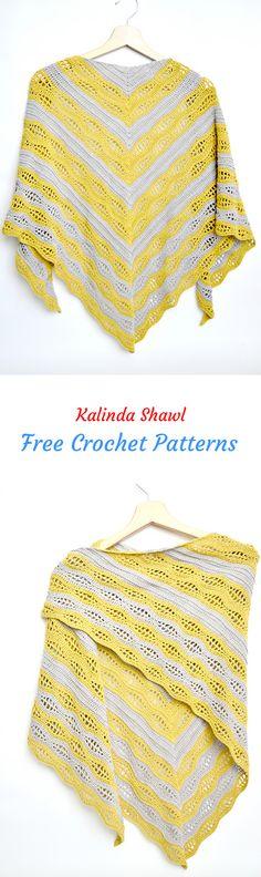 Kalinda Shawl Free Crochet Pattern #crochet #yarn #crafts #homemade #handmade #fashion
