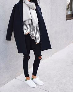 perfect fall outfit - black denim, stripe tee, scarf, navy wool coat, sneakers.