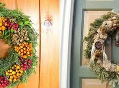 , Charmingchristmas Wreath Door With Flower Ribbon And Mulch Decoration Ideas:
