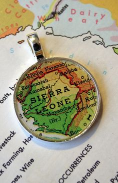 Map Pendant Sierra Leone Africa in Round by ChellasCollection, $21.00
