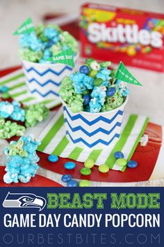 Game Day Colored Candy Popcorn {Beast Mode!} from OurBestBites.com.  #popcorn #snacks