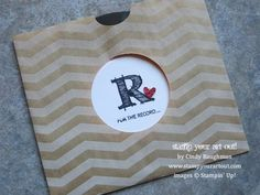 LP Record Card using Circle Collection Framelits, Window Sheets, and other products from Stampin' Up!® - Stamp Your Art Out! www.stampyourar...