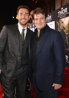 Nathan Fillion and Zachary Levi at event of Thor: The Dark World
