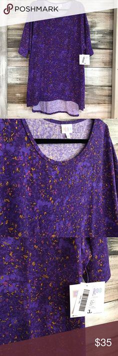 LuLaRoe 3XL Purple Irma NWT. LuLaRoe 3XL Purple Patterned Irma Tunic. 96%Spun polyester. 4% Spandex LuLaRoe Tops Tunics