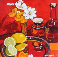 Composition with Flowers and Lemons by Scottish Contemporary Artist Frank COLCLOUGH