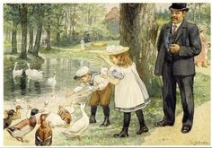 Cornelis Jetses- Feeding Ducks (C3401) | Cornelis Jetses (Ot and Sien) | PostcardWorld.eu