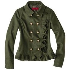 Coffee Shop Junior's Double Breasted Wool Military Jacket- Olive Green L