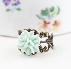 Mint Green Flower Ring, Antique Brass, Adjustable.