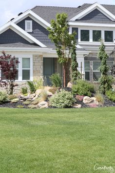 Kick up your home's curb appeal a notch by using our tips for landscaping with rocks and boulders. Rocks and boulders are natural, organic and add focal intererst and they can be used to prevent errosion. Colorado Landscaping, Landscaping With Boulders, Cheap Landscaping Ideas, Driveway Landscaping, Outdoor Landscaping, Landscaping Design, Hillside Landscaping, Backyard Ideas, Mulch Yard