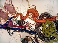 contemporary embroidery artworks by Peruvian artist Ana Teresa Barboza via hi-fructose Abstract Embroidery, Textiles Techniques, Contemporary Embroidery, Anatomy Art, Textile Art, Fabric Crafts, Fiber Art, Art Inspo, Painting & Drawing