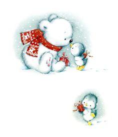 Marina Fedotova - mf-Polar-bear-and-penguin. Christmas Teddy Bear, Noel Christmas, Christmas Animals, Christmas Pictures, Vintage Christmas, Christmas Crafts, Christmas Cartoons, Christmas Clipart, Christmas Printables