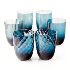 Avio Blu Set of 6 Murano Water Glasses by Nason Moretti Venetian Glass, Murano Glass, Home Scents, Stained Glass Art, Home Decor Trends, Decorative Bowls, Water Glass, Glasses, Tumblers