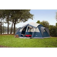 Camping Blue Instant Family Cabin 2 room Large Sealed Tent 8 person - BLUE 14x14 http://camplovers.com/coleman-6-person-instant-cabin-tent-review/