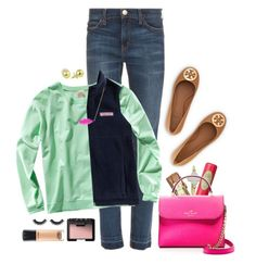 """""""{ all business }"""" by margaretlorraine02 ❤ liked on Polyvore featuring Tory Burch, Current/Elliott, H&M, Pixi, Vineyard Vines, Kate Spade, Kendra Scott, NARS Cosmetics, MAC Cosmetics and women's clothing"""
