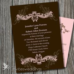 vintage brown wedding invitations Brown Wedding Invitations, Invites, Second Weddings, 1920s, Purpose, Marriage, Wedding Ideas, Tips, Valentines Day Weddings