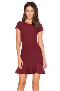 Donna Mizani Cap Sleeve Ruffle Mini Dress in Merlot