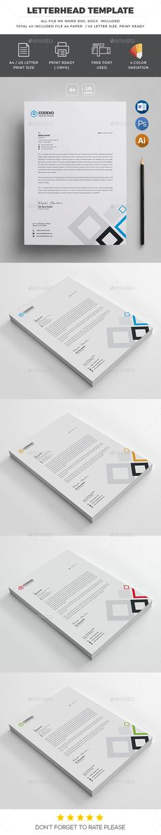 Letterhead  Features of Letterhead Template      4 Color Versions     A4 & US Letter Size With Bleeds     Quick and easy to customize templates     Change Customize easily in MS WORD, PSD & Illustrator     Professional and clean structured files  Files Included      8 PSD – Adobe Photoshop File     8 Ai – Adobe Illustrator File     8 EPS- Adobe Illustrator File     16 Ms word DOC and DOCX File     User guide & Help file     Text editable