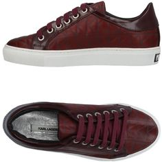 Karl Lagerfeld Low-tops & Sneakers (720 PLN) ❤ liked on Polyvore featuring shoes, sneakers, maroon, round cap, low profile sneakers, karl lagerfeld shoes, rubber sole sneakers and leather trainers