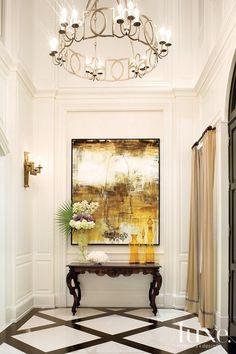 black and white floor. chandelier, hallway