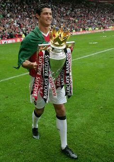 Cristiano Ronaldo of Manchester United celebrates winning the Barclays Premiership after the Barclays Premiership match between Manchester United and West Ham at Old Trafford on May 13 2007 in. Manchester United Champions, Manchester United Legends, Manchester United Players, Cr7 Wallpapers, Ronaldo Wallpapers, Cristano Ronaldo, Football Images, Sir Alex Ferguson, Association Football